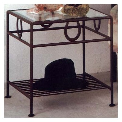Horseshoe Night Stand Metal Finish Gun Metal