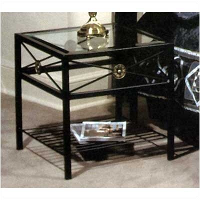 Neoclassic Glass End Table Metal Finish: Stone