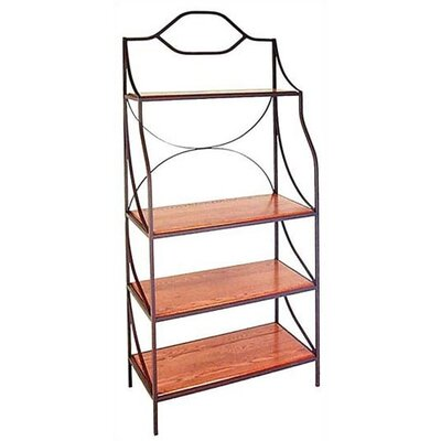 Bakers Rack Finish: Burnished Copper, Shelf Material: Wood: Walnut