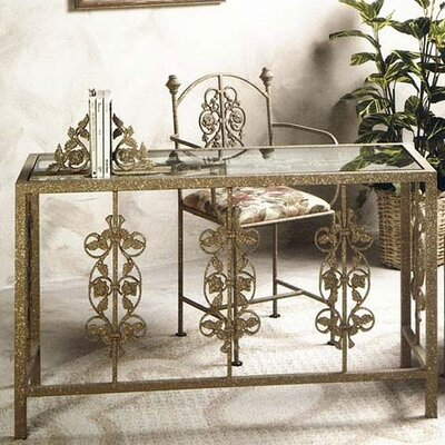 """Grace 49"""" W Garden Writing Desk with Glass Insert - Side Panel: French Tradional, Metal Finish: Stone at Sears.com"""