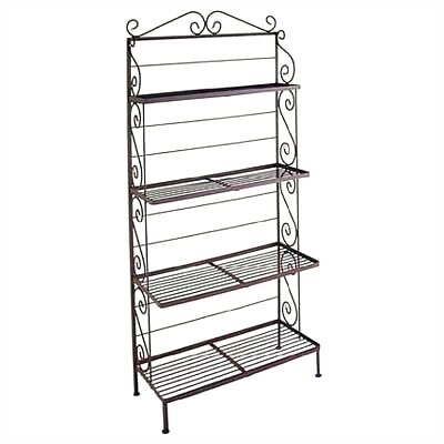 Bakers Rack Brass Tips: With Brass Tips, Finish: Stone