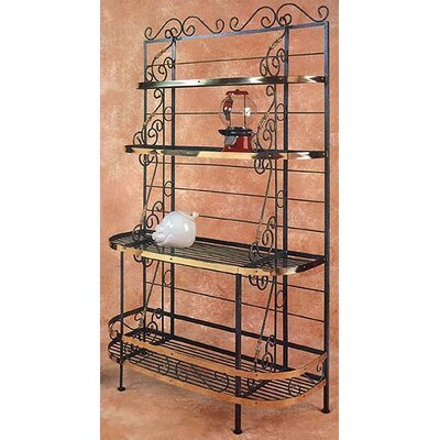 French Baker's Rack Brass Tips: With Brass Tips, Finish: Gunmetal
