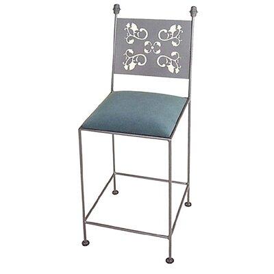 Grace Leaves Bar Side Chair - Fabric: Nutmeg, Finish: Gun Metal