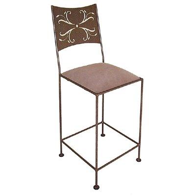 Grace Wheat Bar Stool - Upholstery: Demarest, Base Finish: Cobblestone