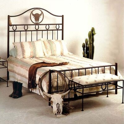 Grace Frontier Wrought Iron Bed - Finish: Antique Bronze, Style: Cowboy, Size: Queen