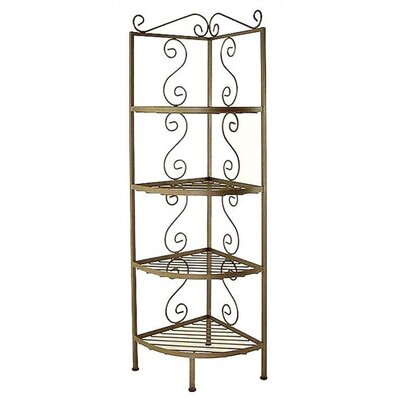 Corner Bakers Rack Brass Tips: With Brass Tips, Finish: Ivory, Size: 13 W x 13 D