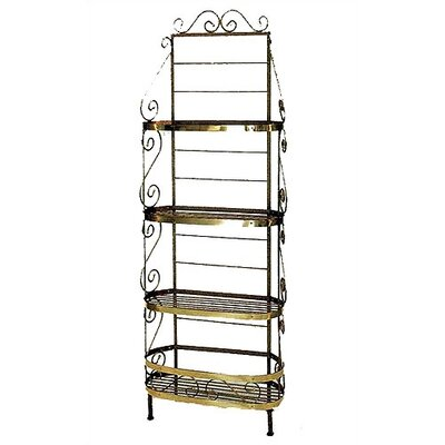 French Bakers Rack Finish: Satin Black, Brass Tips: With Brass Tips