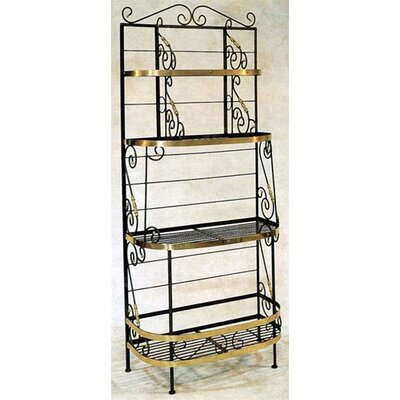 French Baker's Rack Brass Tips: With Brass Tips and Trim, Finish: Stone
