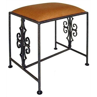 Grace Gothic Vanity Bench - Color: Crispin Plaid, Finish: Satin Black, Size: Large