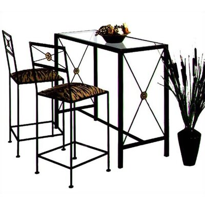 Neoclassic Dining Table Finish: Aged Iron, Style: With Glass Insert