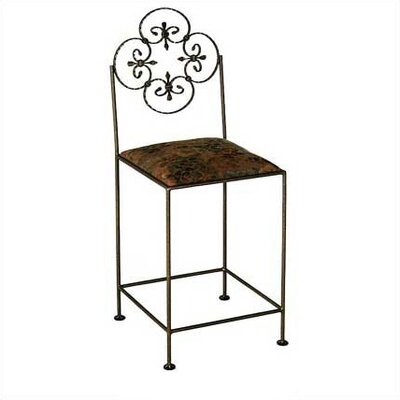 Grace Florentine Bar Stool with Cushion - Upholstery: Moss, Base Finish: Aged Iron
