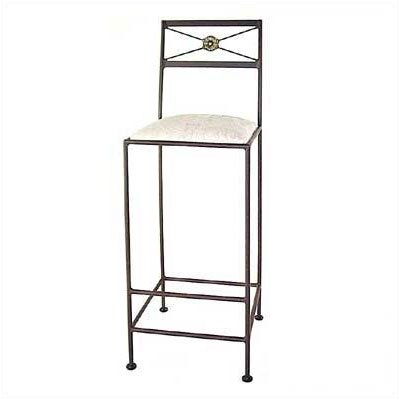 Grace Neoclassic Bar Stool with Cushion - Upholstery: Veronica, Base Finish: Burnished Copper