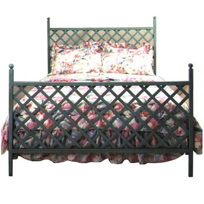 Lattice Open-Frame Headboard Size: Queen, Color: Satin Black