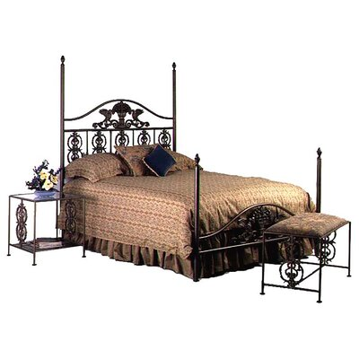 Four poster Bed Size: Queen, Color: Aged Iron