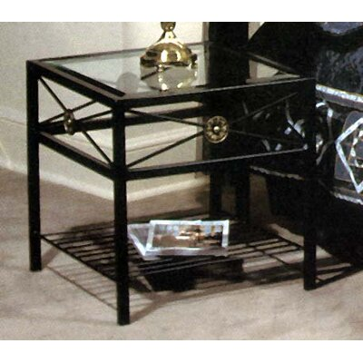 Kaity Glass End Table Metal Color: Antique Bronze
