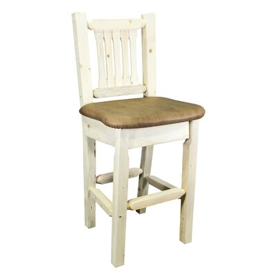 Abella 30 Wood Bar Stool Upholstery: Buckskin