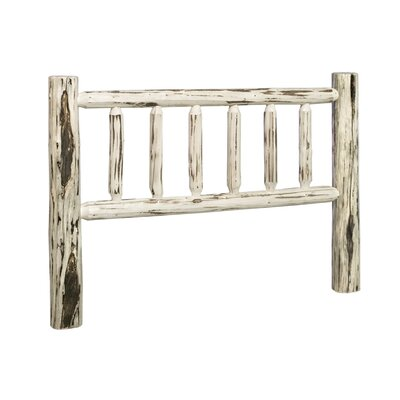 Furniture-Log Wood Slat Headboard Finish Unfinished, Size California King