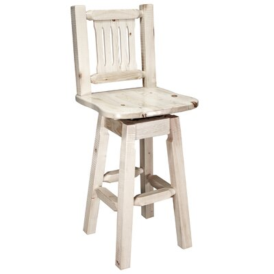 Abella 30 Rustic Swivel Bar Stool Finish: Lacquered