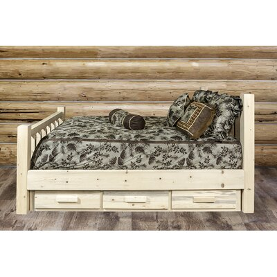 Abella Wood Storage Platform Bed Color: Clear Lacquer, Size: Twin