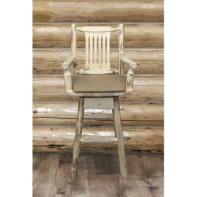 Abordale 30 Wood Legs Swivel Bar Stool Upholstery: Buckskin, Finish: Ready to Finish