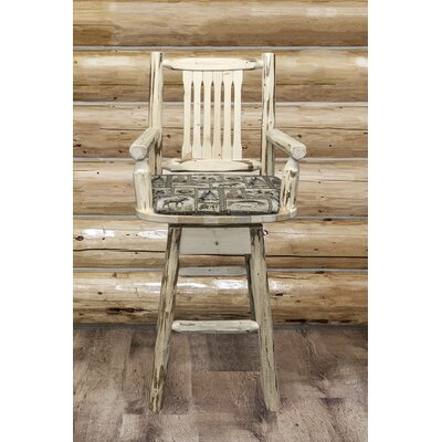 Abordale 30 4 Legs Swivel Bar Stool Upholstery: Wildlife