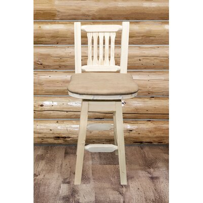 Abella 30 Swivel Bar Stool Upholstery: Buckskin, Base Finish: Unfinished