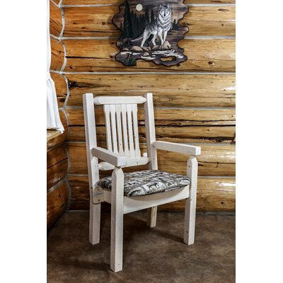 Abella Rustic Arm Chair Upholstery: Buckskin, Finish: Stain and Lacquer