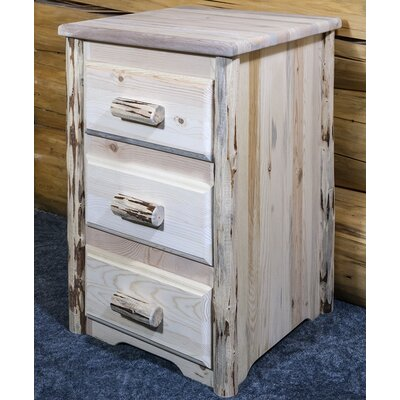 Abordale 3 Drawer Nightstand Finish: Clear Lacquer