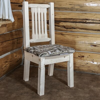 Abella Slat Back Side Chair Upholstery: Wildlife, Finish: Clear Lacquer