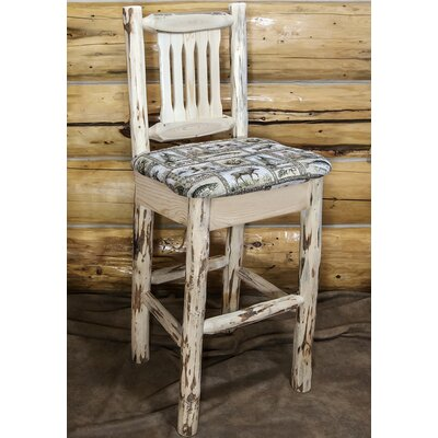 Abordale 30 Faux Leather Upholstery Bar Stool Upholstery: Buckskin, Finish: Clear Lacquer