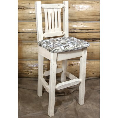 Abella 30 Wood Bar Stool Upholstery: Buckskin, Finish: Clear Lacquer
