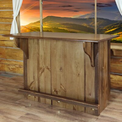 Abella Bar with Foot Rail Color: Stained and Lacquered