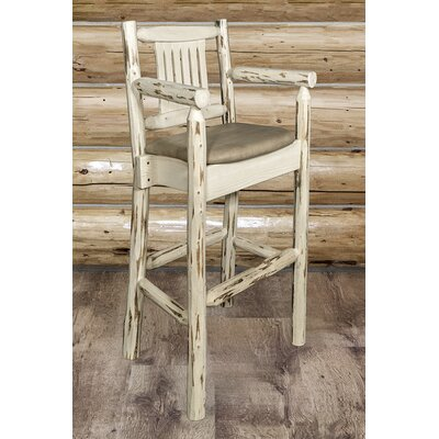 Abella 30 Solid Wood Bar Stool Upholstery: Buckskin, Finish: Clear Lacquer