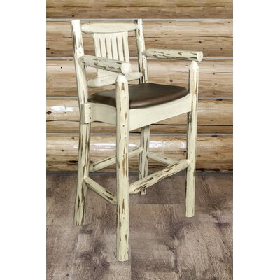 Abella 30 Solid Wood Bar Stool Upholstery: Wildlife, Finish: Stain and Lacquer