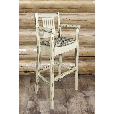 Abella 30 Solid Wood Bar Stool Upholstery: Wildlife, Finish: Ready to Finish