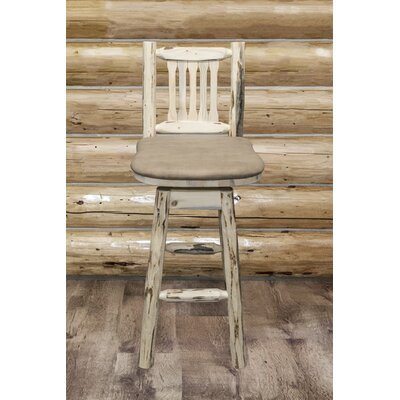 Montana 30 Swivel Bar Stool Finish: Clear Lacquer, Upholstery: Buckskin