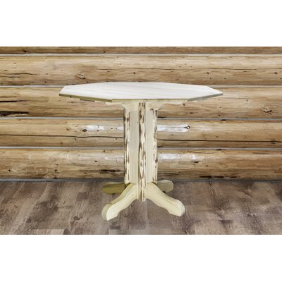 Abordale Pedestal Dining Table Finish: Clear Lacquer Finish, Size: 36 H x 45 W x 45 D