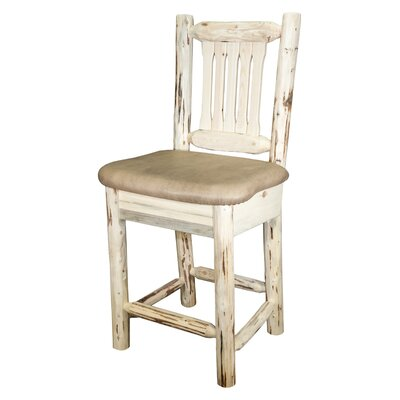Montana 30 Bar Stool with Cushion Finish: Clear Lacquer Finish, Upholstery: Faux Leather - Buckskin