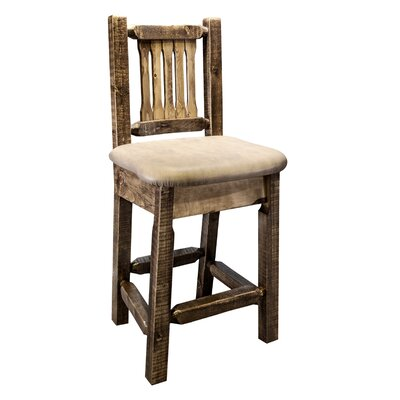 Homestead 24 Bar Stool with Cushion Finish: Ready to Finish, Upholstery: Faux Leather - Saddle