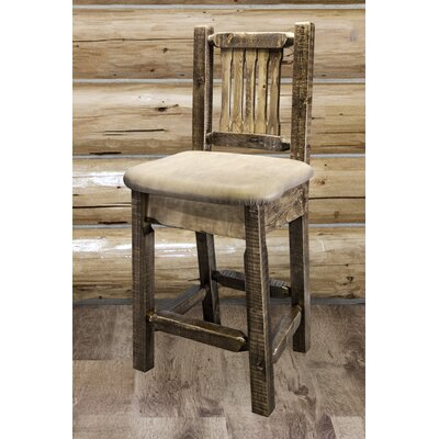 Abella 24 Bar Stool Finish: Clear Lacquer Finish, Upholstery: Faux Leather - Saddle