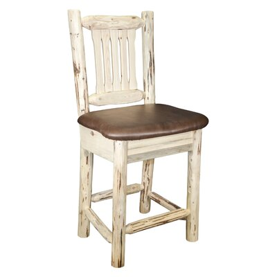 Montana 30 inch Bar Stool with Cushion Finish: Ready to Finish, Upholstery: Faux Leather - Saddle