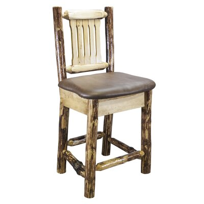 Tustin 24 inch Bar Stool with Cushion Upholstery: Faux Leather - Saddle