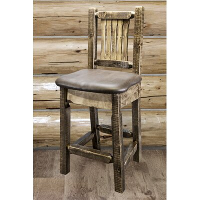 Abella 24 Bar Stool Finish: Stain and Lacquer Finish, Upholstery: Faux Leather - Saddle