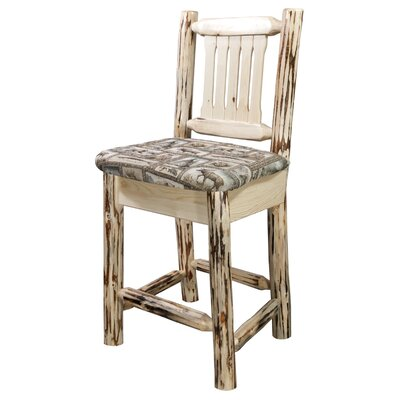 Montana 30 Bar Stool with Cushion Finish: Clear Lacquer Finish, Upholstery: Fabric - Wildlife