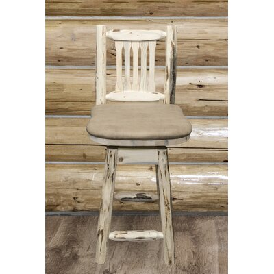Montana 24 Bar Stool Finish: Ready to Finish, Upholstery: Buckskin