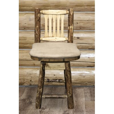 Tustin 24 Rustic Bar Stool Upholstery: Buckskin