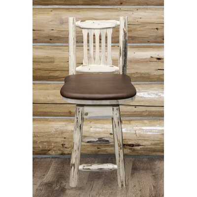 Abordale 24 Square Seat Bar Stool Finish: Ready to Finish, Upholstery: Saddle