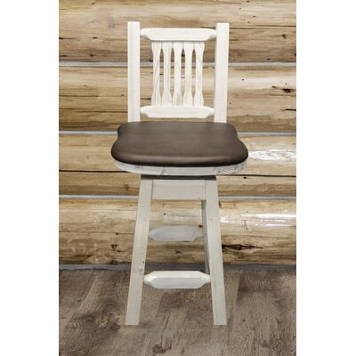 Abella 24 Rustic Bar Stool Finish: Stain and Lacquer Finish, Upholstery: Saddle