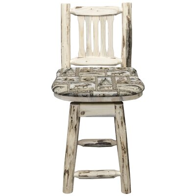 Abordale 24 Gray Seat Swivel Bar Stool Finish: Ready to Finish