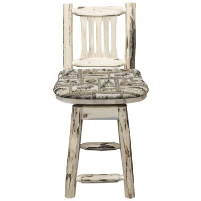 Abordale 24 Square Seat Bar Stool Upholstery: Saddle, Finish: Clear Lacquer
